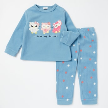 Embroidered T-shirt and Printed Full Length Pyjama Set