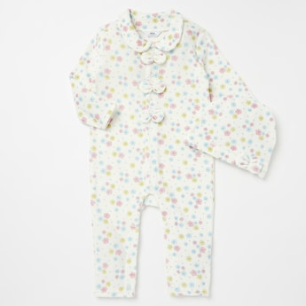 Floral Print Open Feet Sleepsuit with Cap