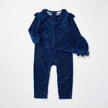 All-Over Star Print Velour Long Sleeves Sleepsuit with Cap