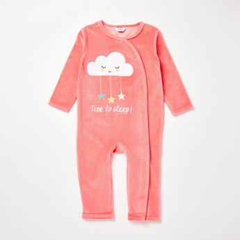 Textured Full Length Long Sleeves Sleepsuit with Cap