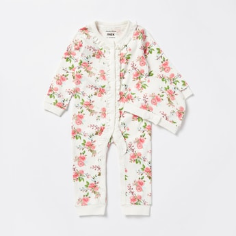 Floral Print Open Feet Long Sleeves Sleepsuit with Cap