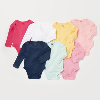 Pack of 7 - Solid Bodysuit with Round Neck and Long Sleeves