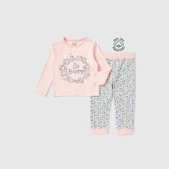 Graphic Print Long Sleeves T-shirt and Pyjama Set