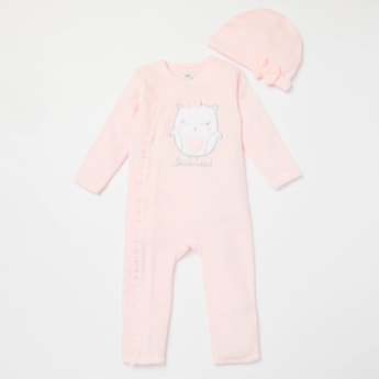Owl Velour Long Sleeves Sleepsuit with Bow Applique Detail Cap