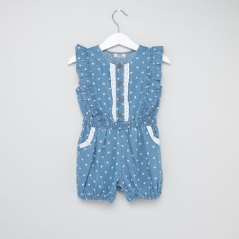 Heart Print Round Neck Playsuit with Ruffles and Pockets