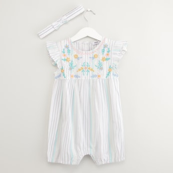 Embroidered Romper with Headband