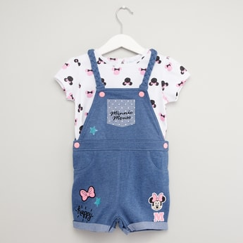 Minnie Mouse Print T-shirt and Dungaree Set