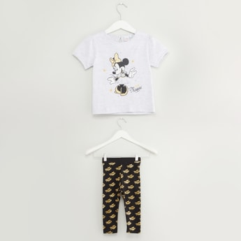 Minnie Mouse Print T-shirt and Leggings Set