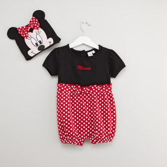 Disney Minnie Mouse Print Romper with Cap