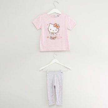 Hello Kitty Print T-shirt and Leggings Set