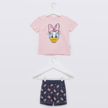 Daisy Duck Print Round Neck T-shirt with Pocket Detail Shorts