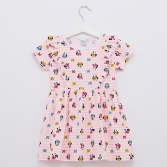Minnie Mouse Print Dress with Round Neck and Cap Sleeves