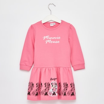 Minnie Print Round Neck Dress with Long Sleeves