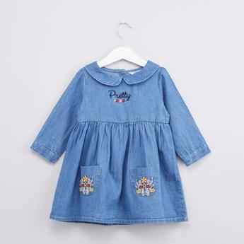 Embroidered Denim Dress with Pocket Detail