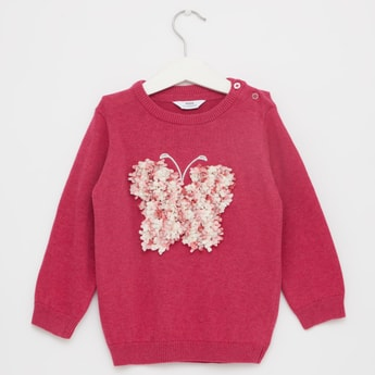 Chenille Jumper with Butterfly Applique and Long Sleeves