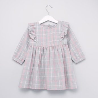 Chequered Dress with Round Neck and Long Sleeves