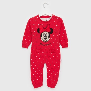 Minnie Mouse Sweater Romper with Round Neck and Long Sleeves