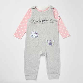 Hello Kitty Print Full Length Dungarees and Long Sleeves T-shirt Set