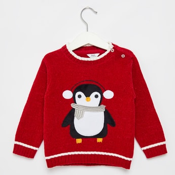 Penguin Embroidered Round Neck Sweater with Long Sleeves