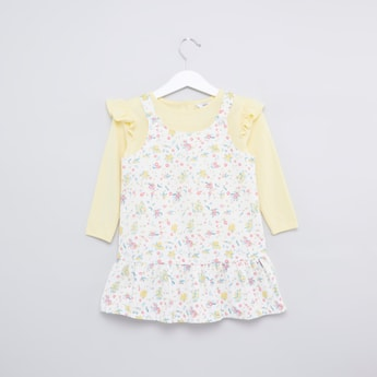 Plain T-shirt with Long Sleeves with Printed Pinafore