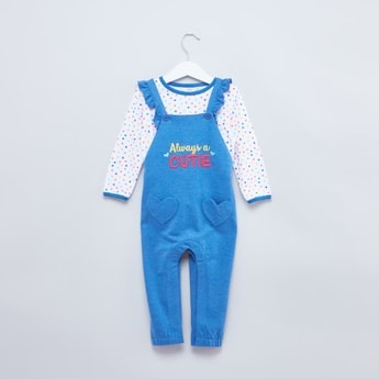 Polka Dot Long Sleeves T-shirt with Embroidered Dungaree