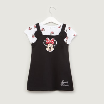 Minnie Mouse Printed T-shirt with Applique Detail Pinafore