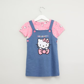 Hello Kitty Printed T-shirt with Embroidered Pinafore