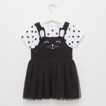Bunny Print Square Neck Pinafore Dress with Top