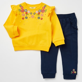 Floral Embroidered Long Sleeves T-shirt with Full Length Jog Pants