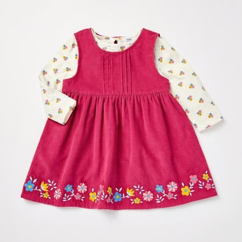 Floral Print Pinafore Dress and Long Sleeves T-shirt Set