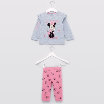 Minnie Mouse Printed T-shirt and Jog Pants Set