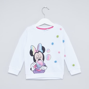 Minnie Mouse Print Round Neck Sweat Top with Long Sleeves