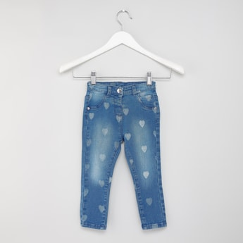 Full Length Heart Printed Jeans with Pocket Detail