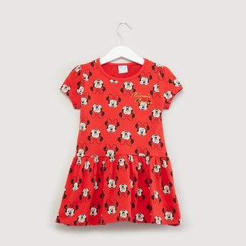 Minnie Mouse Printed Dress with Round Neck and Short Sleeves