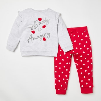 Applique Detail Long Sleeves Sweatshirt with All-Over Print Jog Pants