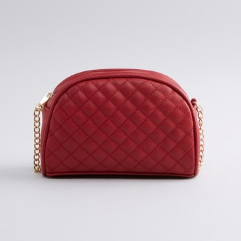 Quilted Crossbody Bag with Zip Closure