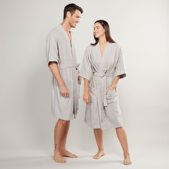 Textured Unisex Bathrobe with Pocket Detail and Tie-Ups
