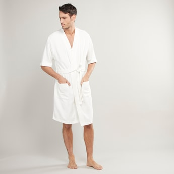 Textured Bathrobe with Pocket Detail and Tie Ups