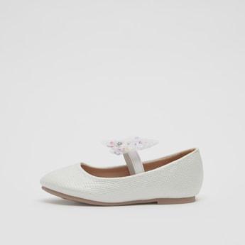 حذاء باليرينا بارز الملمس مزيّنة بفيونكة