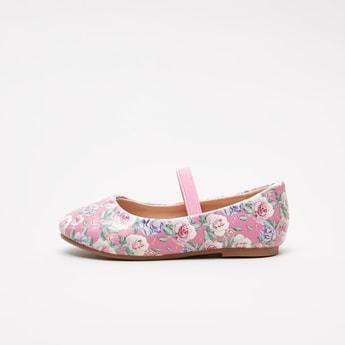 حذاء ماري جين بطبعات زهرية وحزام مطاطي