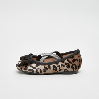 Animal Print Ballerinas with Bow Applique and Elasticised Straps