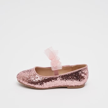Glitter Accent Shoes with Bow Applique Detail