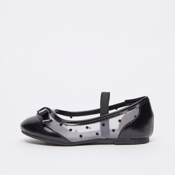 Textured Shoes with Bow Detail and Elasticised Strap