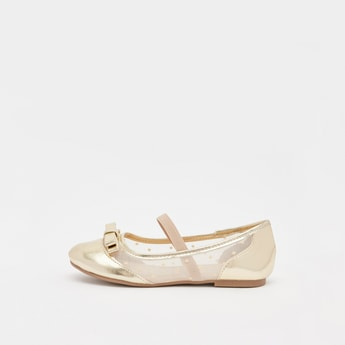 Textured Slip On Ballerinas with Bow