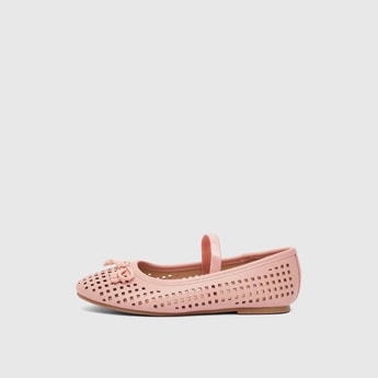 Cutworked Slip-On Shoes with Bow Accent