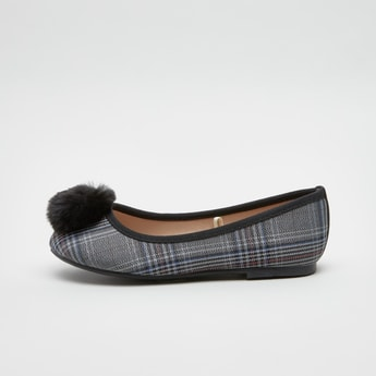 Checked Ballerina Shoes with Pom-Pom Detail