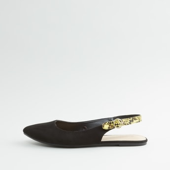 Plain Mules with Printed Strap and Pin Buckle Closure