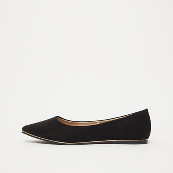 Solid Slip-On Ballerina Shoes with Pointed Toe Detail