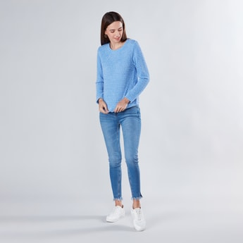 Textured Sweater Top with Round Neck and Long Sleeves