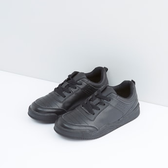 Lace-Up School Shoes with Stitch Detail and Perforations